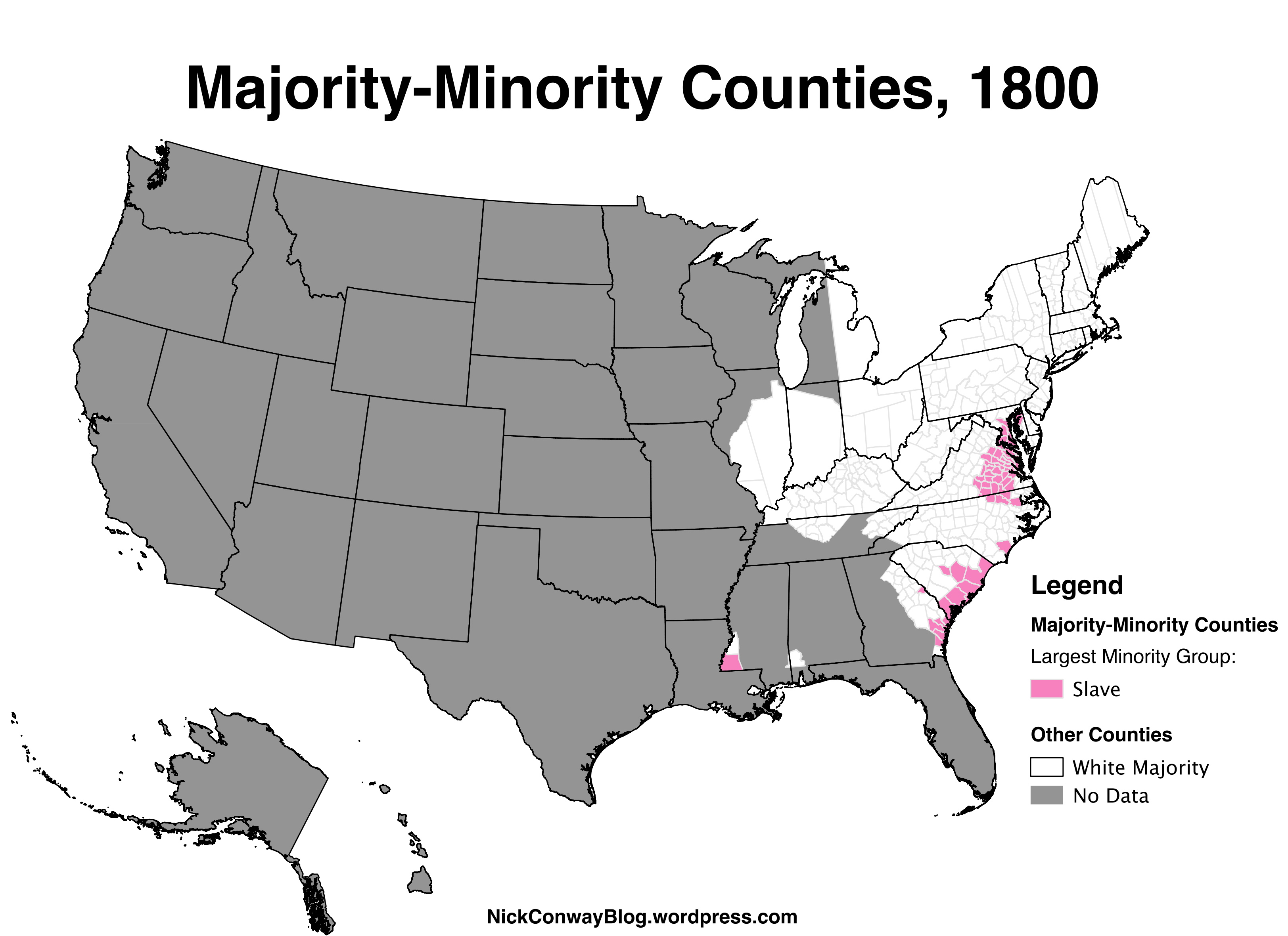 MajorityMinority Counties in the US 17902010 Nick Conway