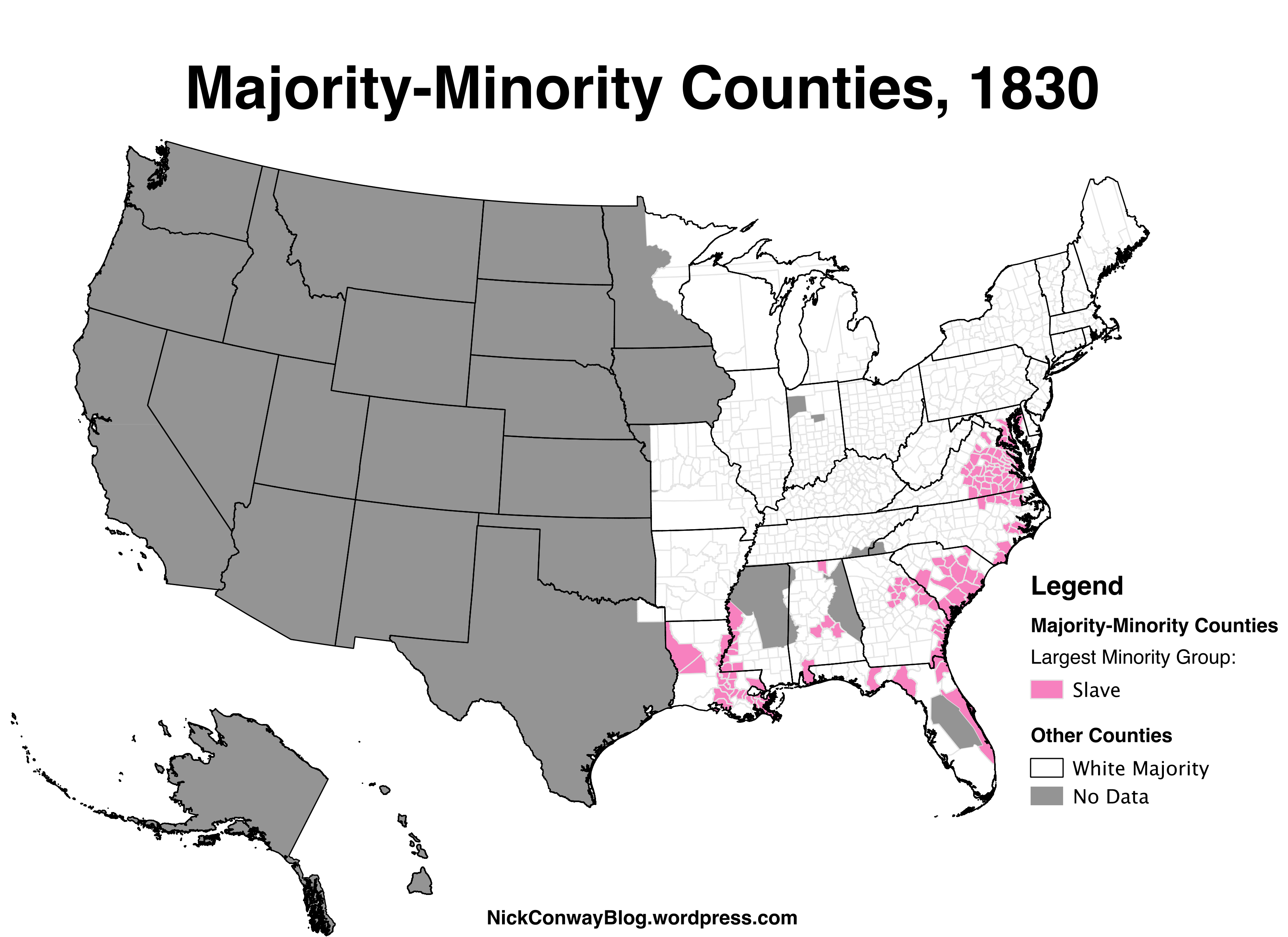 MajorityMinority Counties In The US Nick Conway - Us population density map 1790