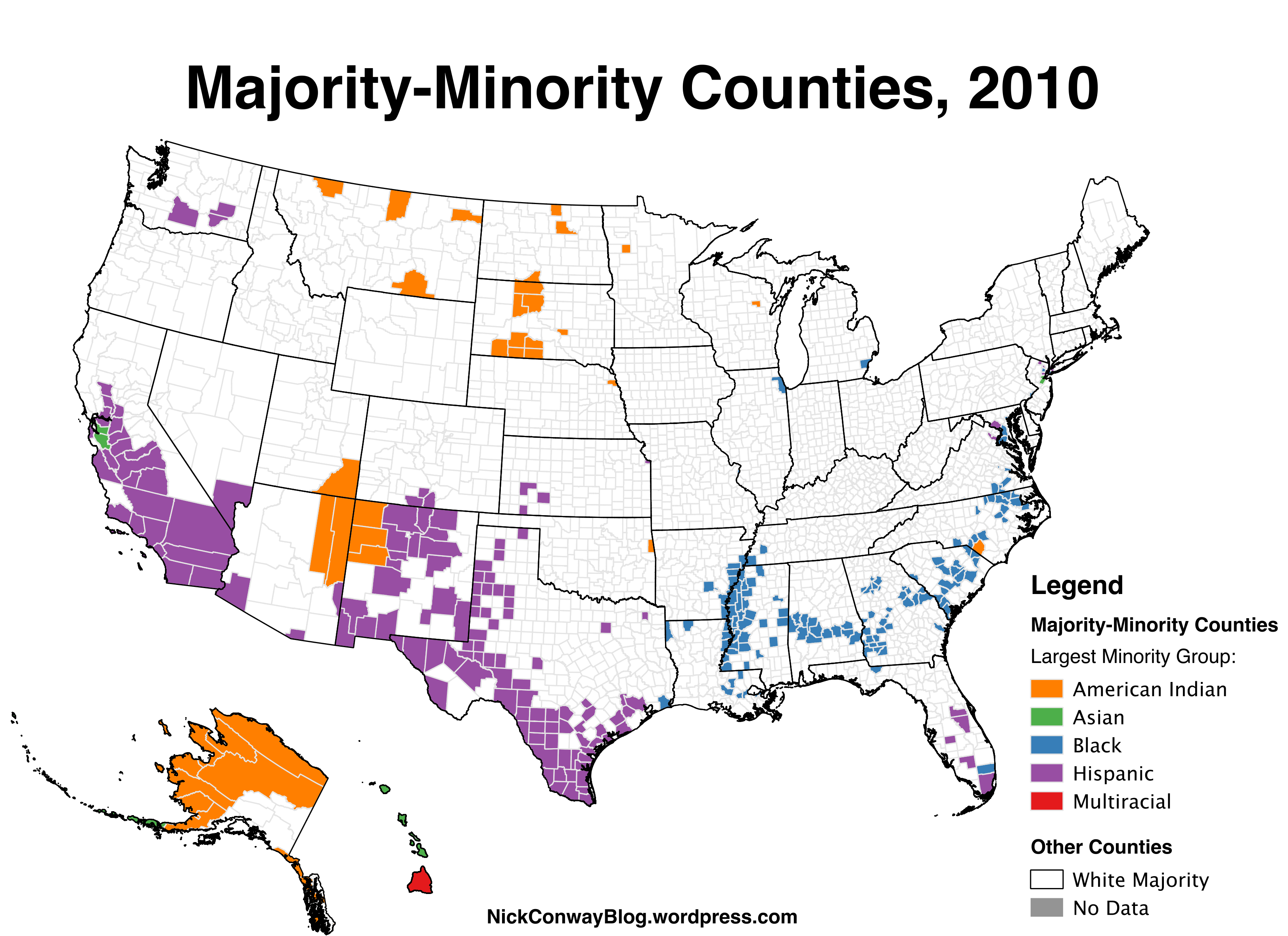 MajorityMinority Counties In The US   Nick Conway - Us counties ethnicity