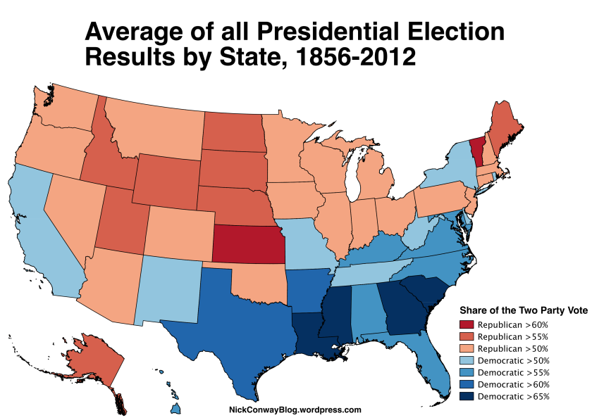 2012 Presidential Election Results By State Map.Combined Presidential Elections 1856 2012 Nick Conway
